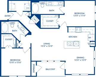 1,210 sq. ft. B3A floor plan