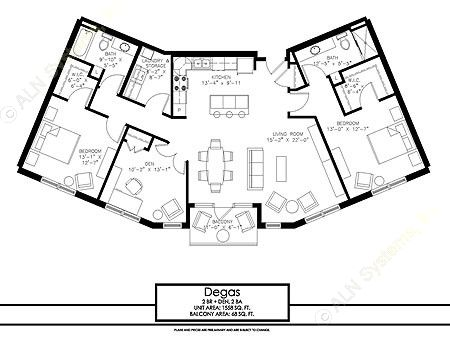 1,558 sq. ft. Degas floor plan