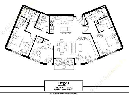 1,558 sq. ft. Degas floor plan
