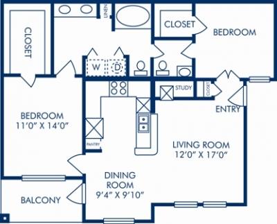 988 sq. ft. J floor plan