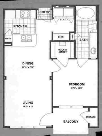 744 sq. ft. A2PB floor plan