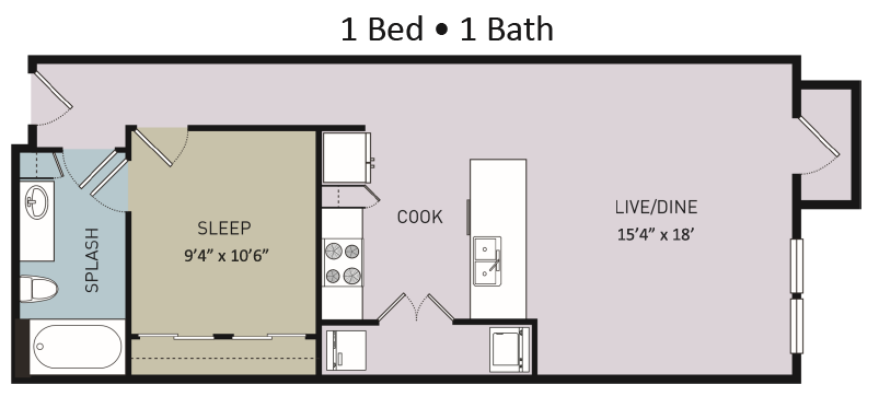 782 sq. ft. to 820 sq. ft. A6 floor plan