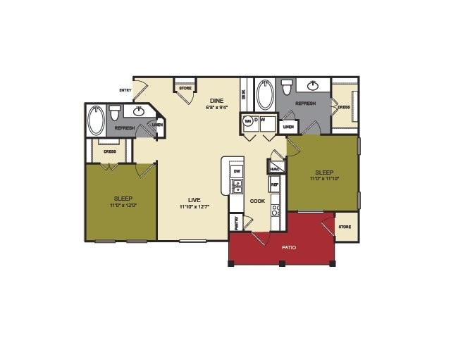 1,064 sq. ft. Pecos floor plan