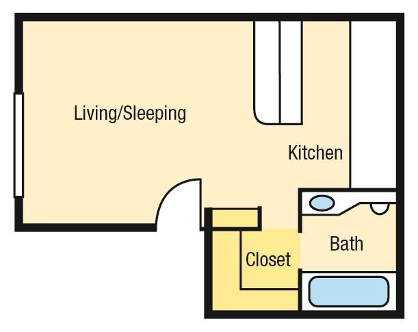395 sq. ft. E1 floor plan