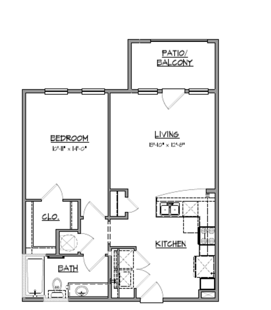 728 sq. ft. A6 floor plan