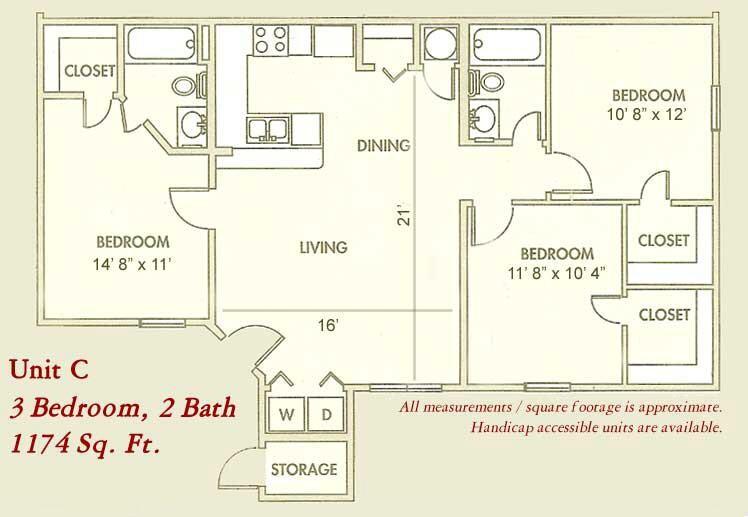 1,174 sq. ft. Mkt floor plan