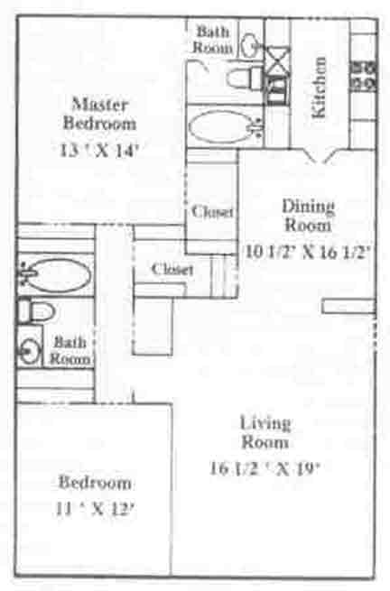 1,000 sq. ft. B-3 floor plan