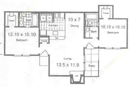 881 sq. ft. B2 floor plan