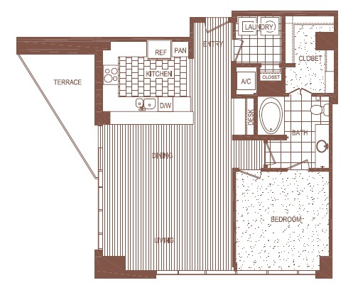 1,006 sq. ft. A5 floor plan