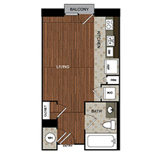 436 sq. ft. C1 floor plan