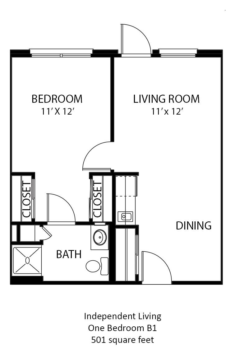 501 sq. ft. B1 floor plan
