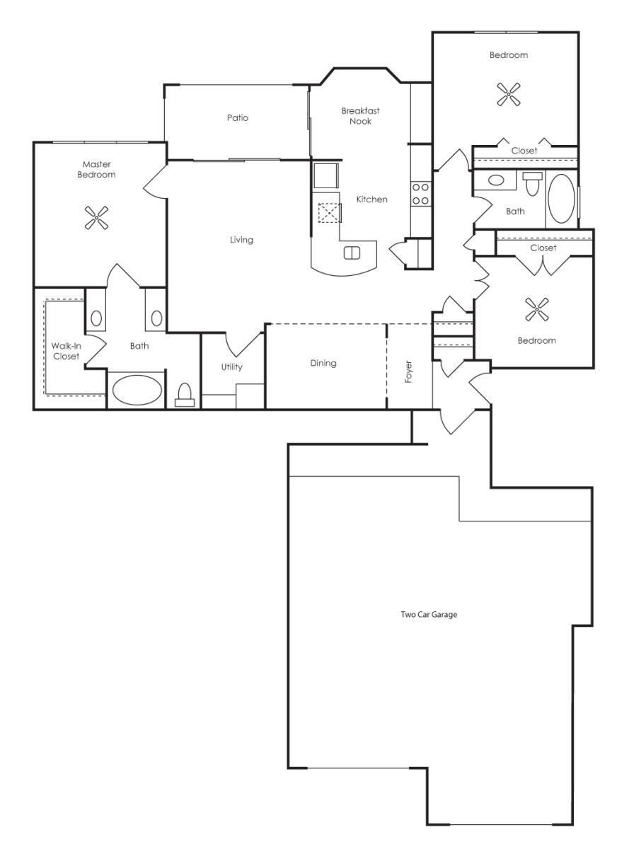 1,482 sq. ft. Veneto (C2-G2) floor plan