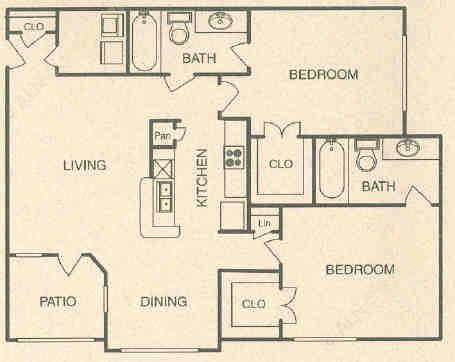 1,040 sq. ft. B3 floor plan