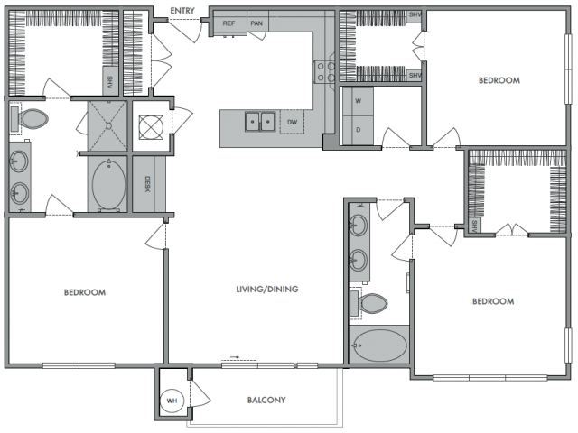 1,478 sq. ft. C1 floor plan