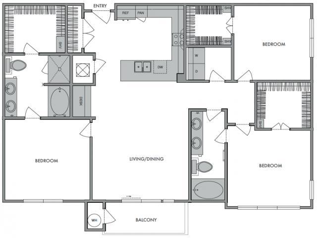 1,478 sq. ft. H floor plan
