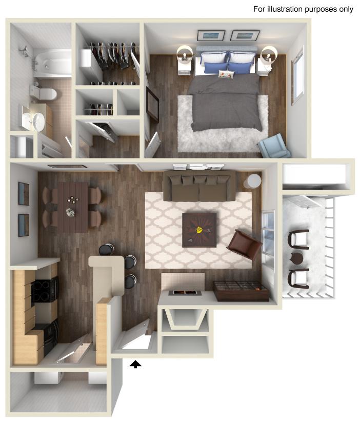 689 sq. ft. B floor plan