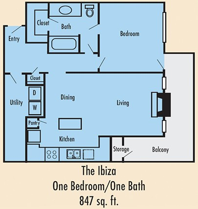 847 sq. ft. A3U floor plan