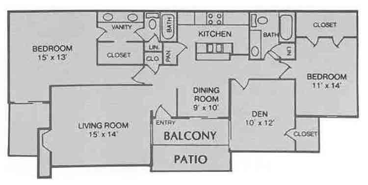 1,365 sq. ft. D floor plan