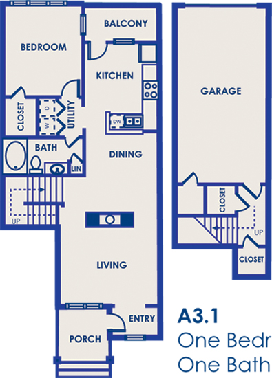 985 sq. ft. 11D floor plan