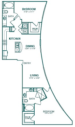 1,322 sq. ft. D2 floor plan