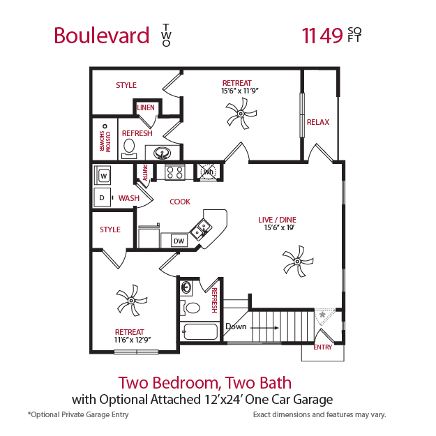 1,149 sq. ft. Boulevard 2 floor plan