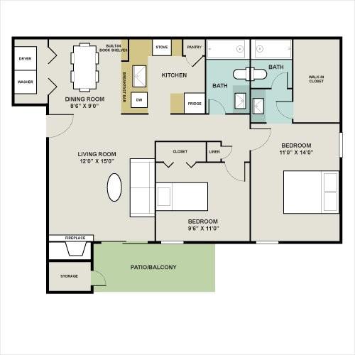 894 sq. ft. C floor plan