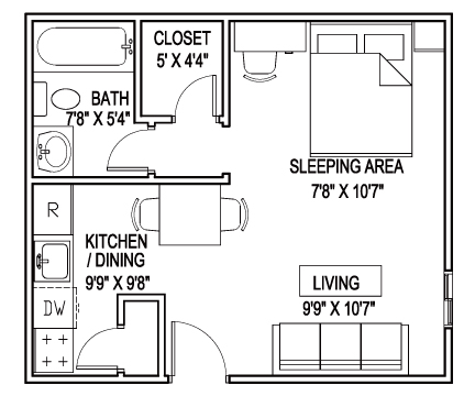 380 sq. ft. A floor plan