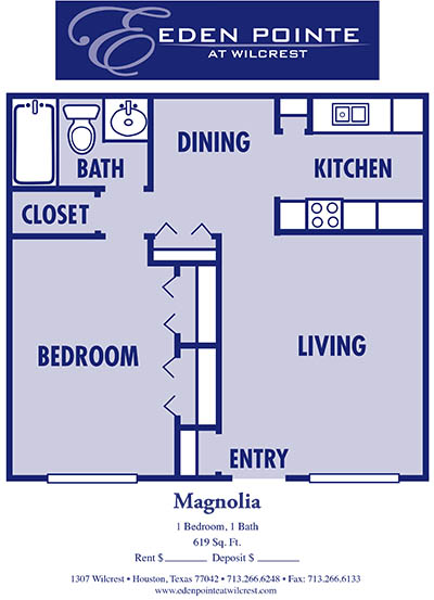 619 sq. ft. A-Magnolia floor plan