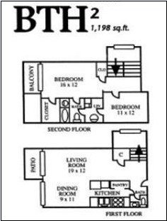 1,198 sq. ft. BTH2 floor plan