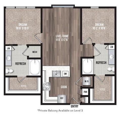 987 sq. ft. B1.2 floor plan