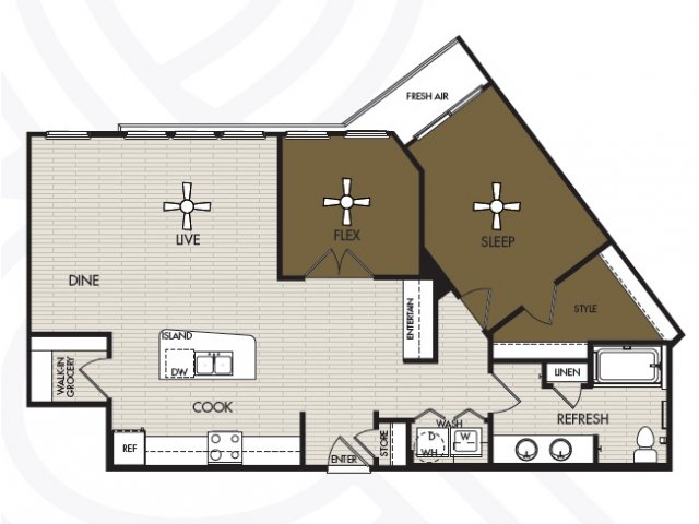 1,076 sq. ft. A4b floor plan