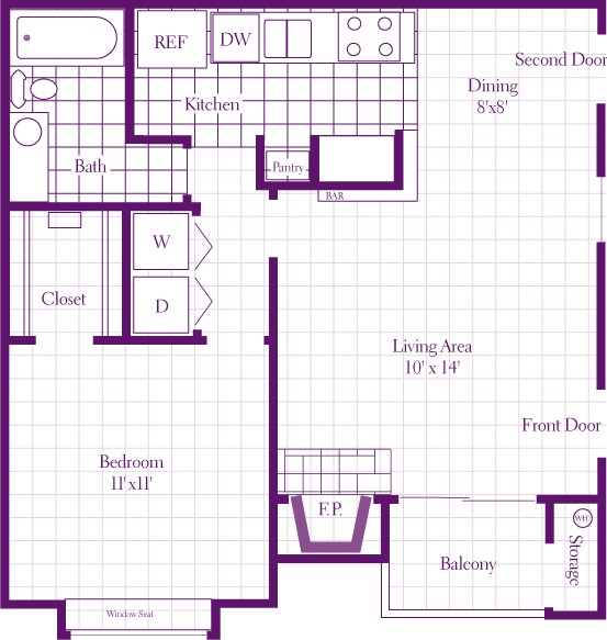 705 sq. ft. 1A floor plan
