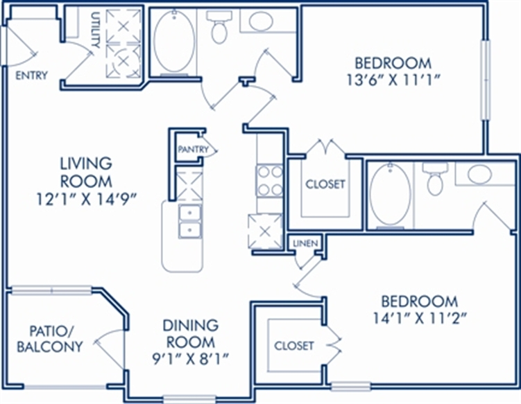 1,020 sq. ft. F floor plan