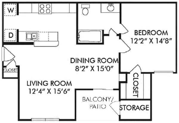 720 sq. ft. B floor plan