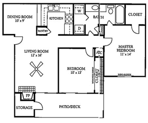 914 sq. ft. D floor plan