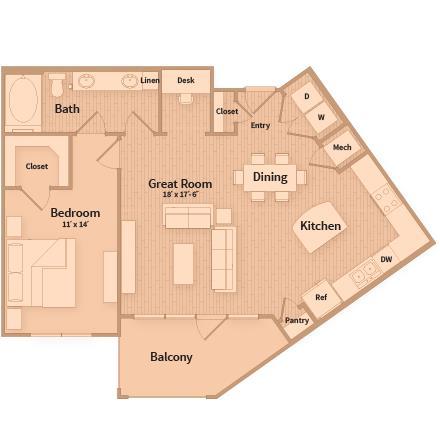 907 sq. ft. floor plan