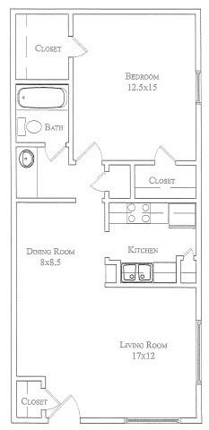 694 sq. ft. Indian Paintbrush floor plan