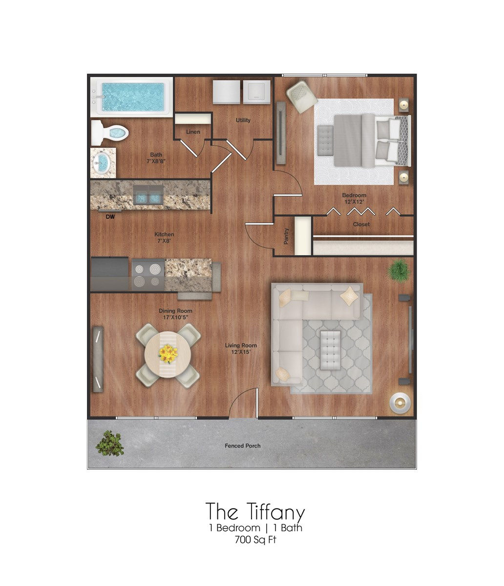 700 sq. ft. Tiffany floor plan