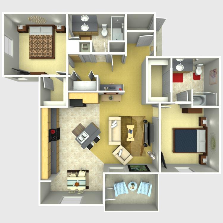 1,133 sq. ft. Majestic floor plan