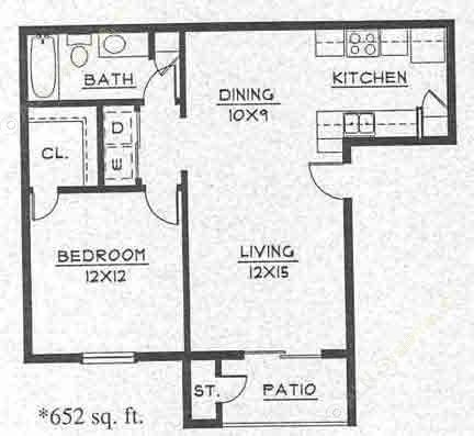625 sq. ft. A1 floor plan