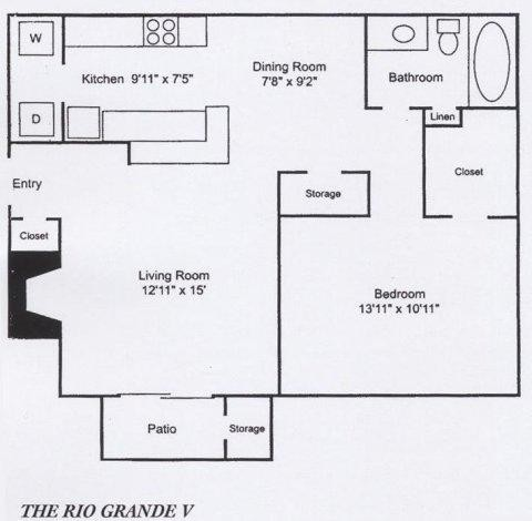 745 sq. ft. A5 floor plan