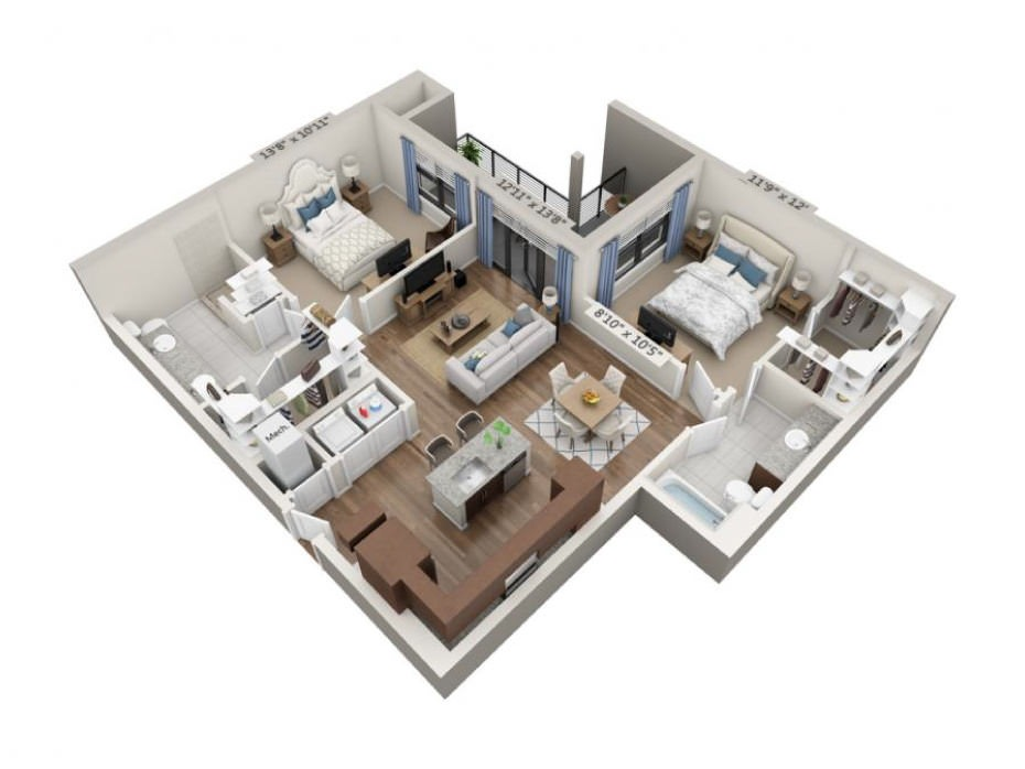 1,131 sq. ft. Mezzo floor plan