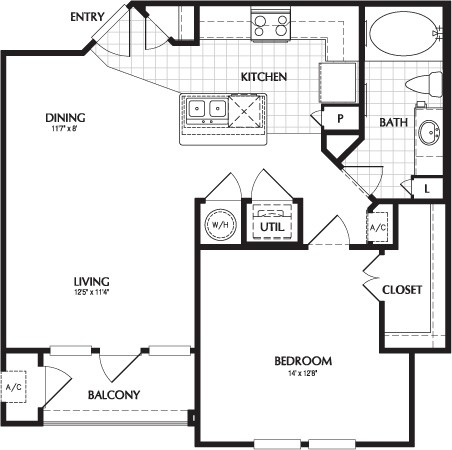 709 sq. ft. to 717 sq. ft. MONTICELLO floor plan