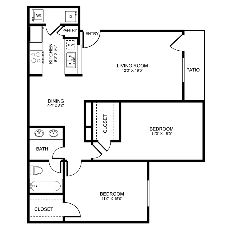 970 sq. ft. floor plan