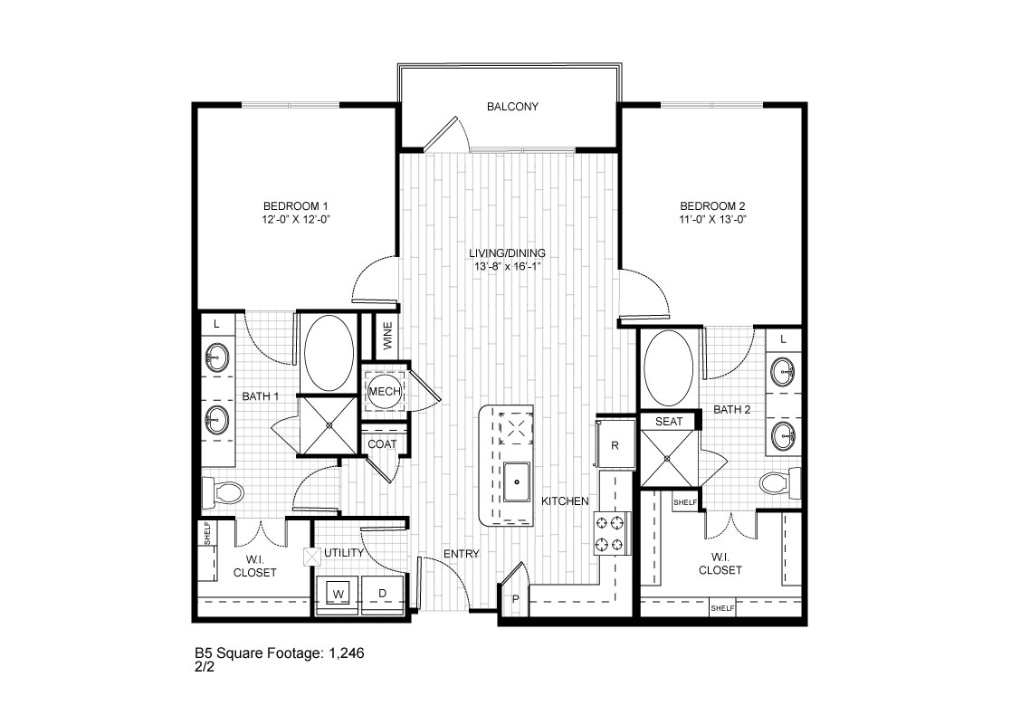 1,170 sq. ft. B5 floor plan