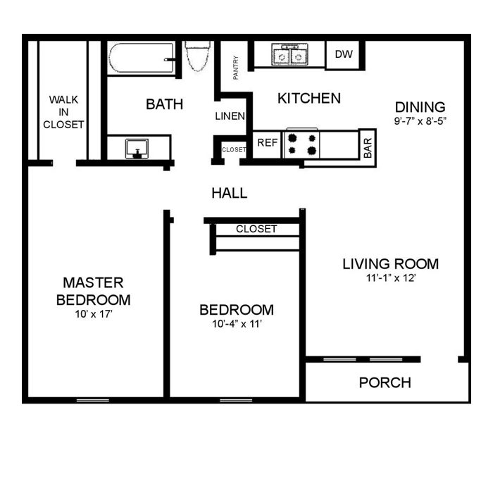 932 sq. ft. C floor plan