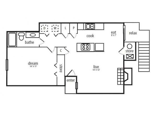653 sq. ft. Oak floor plan