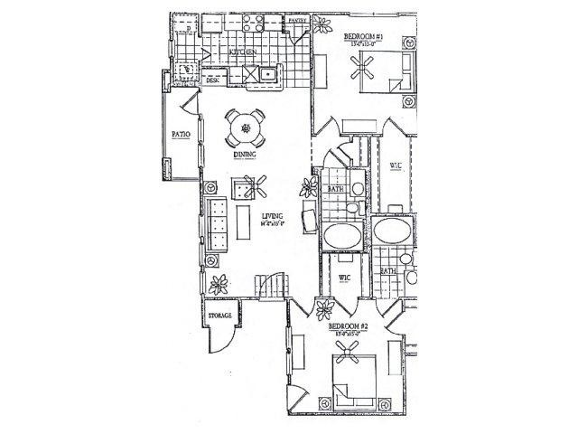 1,259 sq. ft. B1 floor plan
