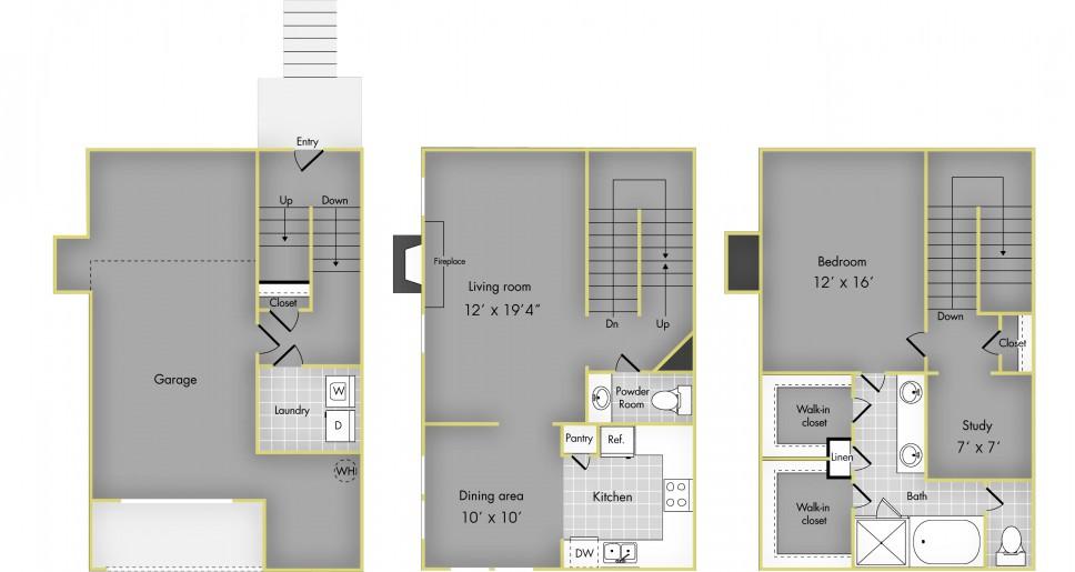 1,151 sq. ft. F floor plan