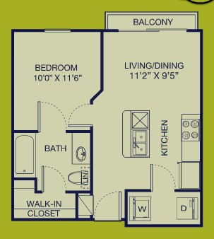 490 sq. ft. S.M.A.R.T floor plan